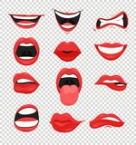 Vektorillustrationuppsättning av röda kvinnakanter Skvallra med en kyss, le, tungan, och många sinnesrörelser skvallrar emoji på  vektor illustrationer