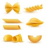 Vektorillustrationuppsättning av realistiska symboler av torr makaroni, pasta av olika slag stock illustrationer