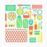 Vektorillustrationuppsättning av skönhetsmedel, makeup och skönhetsymboler i plan design stock illustrationer