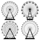 Vektorillustrationuppsättning Ferris Wheel Karnevalfunfairbakgrund EPS10 formaterar stock illustrationer