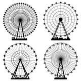 Vektorillustrationuppsättning Ferris Wheel Karnevalfunfairbakgrund EPS10 formaterar vektor illustrationer