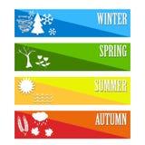 Vektorillustrationuppsättning symbolväder för fyra säsonger Arkivfoton