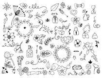 Vektorillustrationuppsättningen av boken för blommaklotterfärgläggning är anti--spänningen för vuxna människor svart white vektor illustrationer