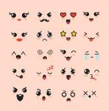 Vektorillustrationuppsättningen av gulliga framsidor, olika Kawaii emoticons, förtjusande teckensymboler för emoji planlägger på  stock illustrationer