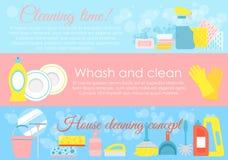 Vektorillustrationuppsättningen av huslokalvårdbeståndsdelar, hygienbegrepp med stället för text och lotten av symboler i pastell stock illustrationer