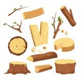 Vektorillustrationuppsättningen av material för wood bransch, träd loggar, wood stammar, högg av vedträträplankor, förbryllar stock illustrationer