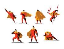 Vektorillustrationuppsättningen av superheroen åtgärdar, olikt poserar Royaltyfri Fotografi