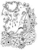 Vektorillustrationzentangl, behandla som ett barn sover i blommorna Vektor EPS 10 Anti-spänning för färgläggningbok för vuxna män Arkivfoto