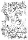Vektorillustrationzentangl, räv och trä Klotterteckningspenna Färga sidan för vuxen anti--spänning Svart vit Arkivfoto
