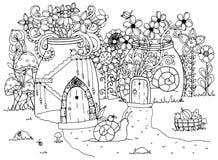 Vektorillustrationzentangl, snigel och huset Klotterteckningspenna Färga sidan för vuxen anti--spänning Svart vit Arkivbild