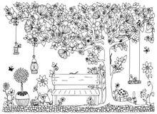 Vektorillustrationzentangle parkerar, arbeta i trädgården, fjädrar: bänk ett träd med äpplen, blommor, gunga, klotter, zenart som Royaltyfri Foto