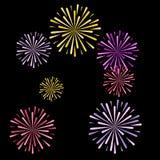 Vektorillustratorschwarzhintergrund neues Jahr der Feuerwerke vektor abbildung
