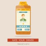 Vektorillustratuion av värderingstaxichauffören via mobilen app Stock Illustrationer