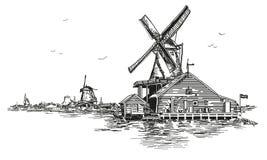 Vektorilustrationwatermill i Amsterdam Arkivfoton
