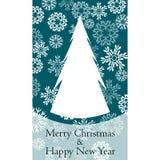 Vektorinbjudan med julträdet glad bakgrundsjul invitation new year royaltyfri illustrationer
