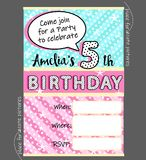 Vektorinbjudanmall för flickaktigt parti Gulligt invitera kortet för födelsedag, baby shower för flicka Royaltyfria Bilder