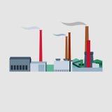 Vektorindustriebauten, -anlagen und -fabriken Stockfotos