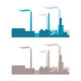 Vektorindustriebauten, -anlagen und -fabriken Lizenzfreie Stockbilder