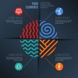 Vektorinfographicsdesign Fyra beståndsdelar gör sammandrag illustrationen Arkivbild