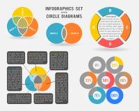 Vektorinfographicsuppsättning av cirkeldiagram Arkivbilder
