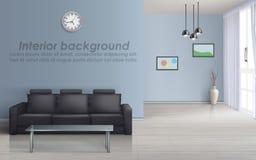 Vektorinnenmodell des Wohnzimmers mit Sofa lizenzfreie abbildung