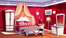 Vektorinre av det rika sovrummet, lyxigt rum vektor illustrationer