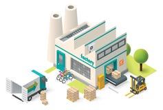Vektorisometrische Fabrik Stockbilder