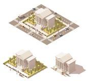 Vektorisometrische niedrige Polymuseums-Gebäudeikone Lizenzfreies Stockfoto