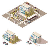 Vektorisometrische niedrige Polypolizei-Gebäudeikone Stockfotos