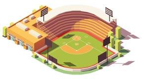 Vektorisometrischer niedriger Polybaseballpark Lizenzfreies Stockbild