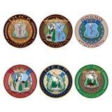 Vektorjaktklubban märker, emblem och den plana uppsättningen för logoer Arkivbilder