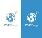 Vektorjord och bombarderar logokombination Jordklot och terrorismsymbol eller symbol Unik konflikt, värld som är global, ekologi Royaltyfri Bild