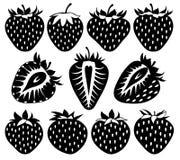 Vektorjordgubbar av olika former i svart Arkivbild