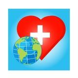 Vektorjordklot på röd hjärta med korset för vård- dag Arkivbilder