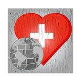 Vektorjordklot på röd hjärta med korset på grå chspbakgrund för Arkivfoton
