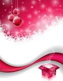 Vektorjul planlägger med den magiska gåvaasken och den röda glass bollen på snöflingabakgrund Royaltyfri Bild