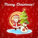 Vektorjulillustration av Santa Claus, snögubben och julgranen Arkivbilder