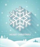 Vektorjulillustration med snöflingan 3d på blå bakgrund Royaltyfria Foton