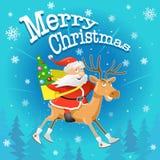 Vektorjulillustration: Rolig tecknad film Santa Claus och ren Arkivfoton