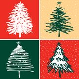 Vektorjulkort med granträd vektor illustrationer
