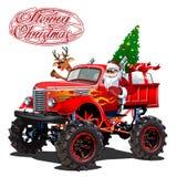 Vektorjulkort med retro julmonstertruck för tecknad film royaltyfri illustrationer
