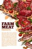 Vektorköttpoter för slakt- eller lantgårdmarknad royaltyfri illustrationer
