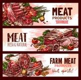 Vektorköttproduktbaner för slakt shoppar stock illustrationer