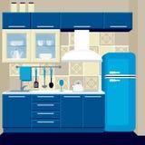 Vektorkücheninnenraum und -geräte lizenzfreies stockbild