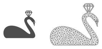 Vektorkadaver Mesh Crowned Swan och plan symbol stock illustrationer