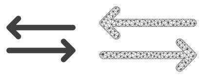 Vektorkadaver Mesh Flip Arrows Horizontally och plan symbol royaltyfri illustrationer