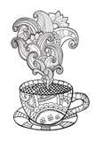Vektorkaffe eller tekopp med abstrakta prydnader Fotografering för Bildbyråer