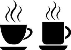 Vektorkaffe-/tekoppar på vit bakgrund royaltyfri illustrationer