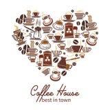 Vektorkaffeaffisch för kafeteria eller kafé stock illustrationer