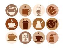 Kaffeeikonen Lizenzfreies Stockfoto